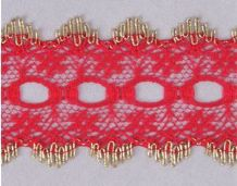 Essentials Knit In Lace 30mm Red with Gold Edge
